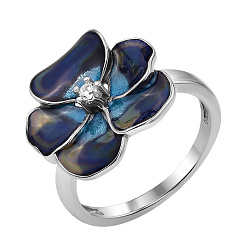 Серебряное кольцо Ночная фиалка с цирконием и синей эмалью