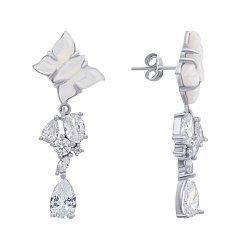 Серебряные серьги с перламутром и цирконием 000140290