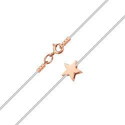 Золотое колье Звездный путь на силиконовом шнурке со звездой