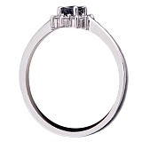 Кольцо с сапфиром и бриллиантами из белого золота Диана