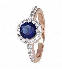 Позолоченное серебряное кольцо с синим фианитом Лорелей