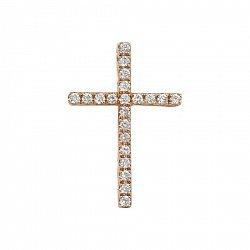 Крестик из красного золота с бриллиантами 000099056
