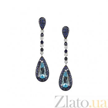 Серебряные серьги с голубым топазом и фианитами Фортуна 000027276