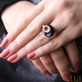 Золотое кольцо с агатом и фианитами Дорога к счастью 000024543