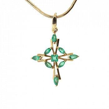 Золотой декоративный крест в красном цвете с изумрудами 000021620