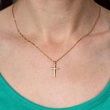 Крестик Строгий стиль в желтом золоте