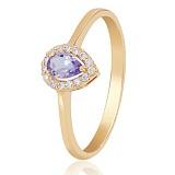 Золотое кольцо Капля росы с аметистом и фианитами