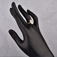 Кольцо в красном золоте Трилистник с фианитами