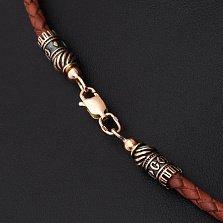 Коричневый кожаный шнурок Артендо с золотой застежкой, Ø3мм