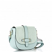Кожаная сумка на каждый день Genuine Leather 8684 голубого цвета с клапаном на магните