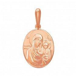 Золотая ладанка Образ Богородицы в красном цвете