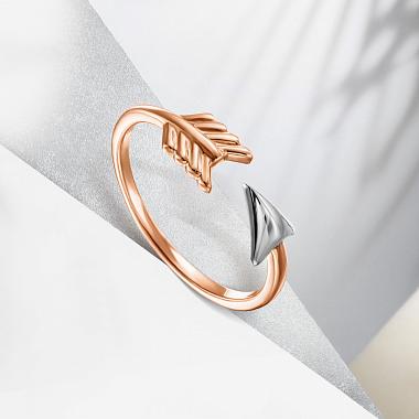 Золотое разомкнутое кольцо в комбинированном цвете 000133220