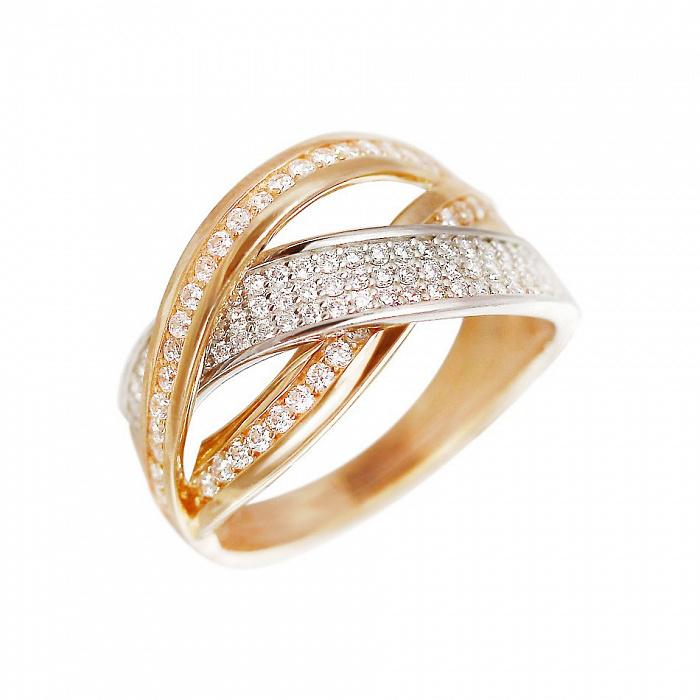 Золотое кольцо Ксантия с фианитами 000081341