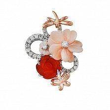 Золотой кулон Делорис с бриллиантами, красным агатом и розовым перламутром