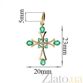 Золотой декоративный крест в красном цвете с бриллиантами и изумрудами Рим ZMX--PE-6486_K