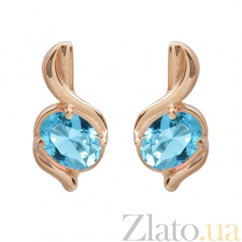 Золотые серьги с голубым топазом Бертина 000023809