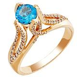 Золотое кольцо Ривьера с голубым топазом и фианитами