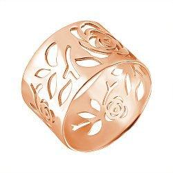 Золотое ширкое кольцо Розарий в красном цвете с ажурным узором
