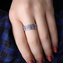 Серебряное кольцо Свежий Орнамент с фианитами