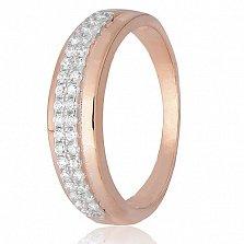 Серебряное кольцо Прима с фианитами и позолотой