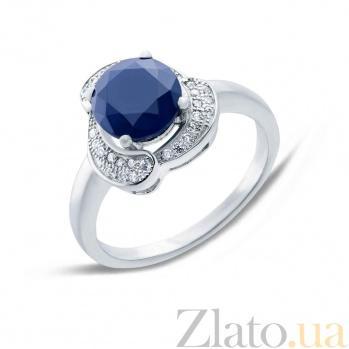 Серебряное кольцо с сапфиром и фианитами Цветение AQA--R01073S