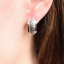 Серебряные сережки Ортана со вставками золота