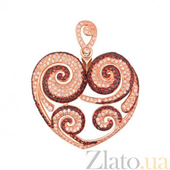 Подвеска Сердце из красного золота с цирконием VLT--ТТТ3479-2