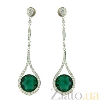 Золотые серьги с бриллиантами и празиолитами Alsou ZMX--EDPr-00104w