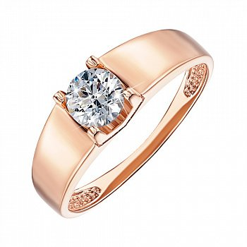 Помолвочное кольцо из красного золота с фианитом 000103773