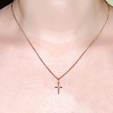 Крестик из красного золота с фианитом Нежность