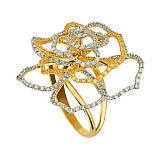 Кольцо из желтого золота Эустома с фианитами