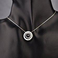 Серебряное колье Часики из двух частей с кристаллами циркония