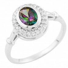 Серебряное кольцо Николина с топазом мистик и фианитами