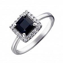 Серебряное кольцо с сапфиром и фианитами 000132837