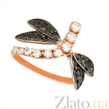 Золотое кольцо Стрекоза с черным и белым цирконием VLT--Е1439