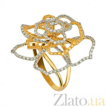 Кольцо из желтого золота Эустома с фианитами 000002183