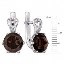 Серебряные серьги Мелина с раухтопазами