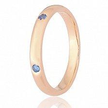 Серебряное кольцо Кэйтлайн с позолотой и синими фианитами