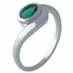 Серебряное кольцо с синтезированным изумрудом и родированием 000128926