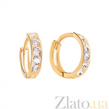 Золотые серьги с белым цирконием Марианна SUF--100923бл