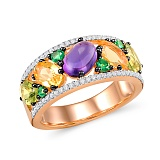 Золотое кольцо с аметистами, цитринами, гранатами и бриллиантами Теплое лето
