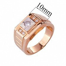 Золотое кольцо-печатка с фианитами Демид