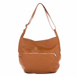Кожаная сумка на каждый день Genuine Leather 8695 коньячного цвета на молнии с регулируемым ремнем