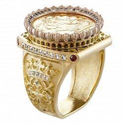 Золотой перстень-печатка Амфитетр с монетой в комбинированном цвете с узорной шинкой