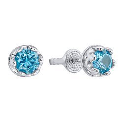 Серебряные серьги-пуссеты с синей шпинелью 000133353