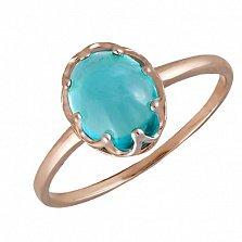 Кольцо в красном золоте Селина с голубым топазом