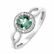 Серебряное кольцо Линара с зеленым кварцем и фианитами