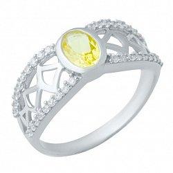 Серебряное кольцо Янина с цитрином и фианитами