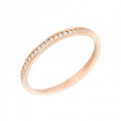 Золотое кольцо Мадонна в красном цвете с дорожкой белых фианитов