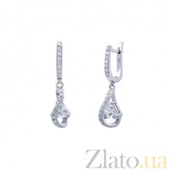 Серебряные серьги с фианитами Идеал AQA--72233б